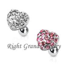 316L Surgical Steel Pink Multi Gems Heart Ear Tragus Piercing