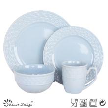 Embossed Ceramic Stoneware 16PCS Cheap Dinners Et