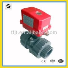 Válvula de bola mini de plástico upvc Válvula motorizada de 2 vias para bobina de ventilador e sistema de ciclo de água quente