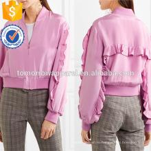 Горячая Продажа фиолетовый полиэстер с длинным рукавом ruffled Весенняя куртка оптом производство модной женской одежды (TA0007J)