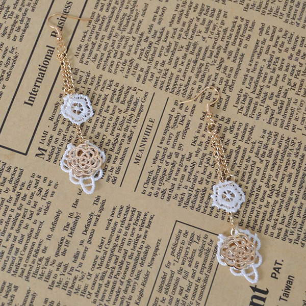 Lace Long Chain Earring For Party