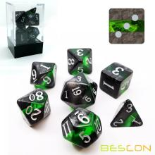 Bescon Mineral Rocks GEM VINES Polyèdrique D&D Dice Set de 7, RPG Jeu de rôle Dice 7pcs Set of EMERALD