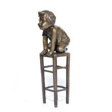 Ребенок Дома-Деко Милый Мальчик Бронзовая Скульптура Статуя Т-571