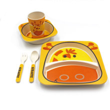 Eco friendly Bamboo Fiber Baby Tableware Set Kids Dinner Set For Home Use