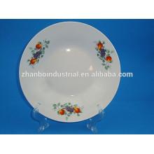 Prato de sopa de porcelana, prato branco, pratos redondos