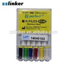 LK-Q22 en acier inoxydable Dental K File Hand Use 15-40 6pcs / box