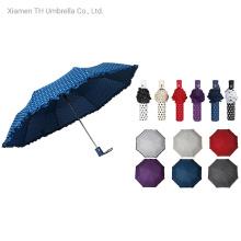 Folding Auto Open Lace DOT Print Sun Umbrella