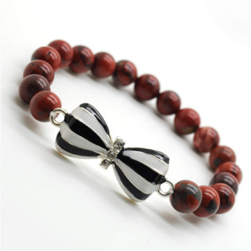 Red Jasper 8MM Round Beads Stretch Gemstone Bracelet with Diamante bow tie Alloy Piece