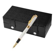 Werbeartikel Metall Füllfederhalter mit schwarzem Leder Geschenkbox