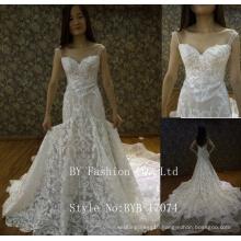 2017 Latest design Alibaba wholesale sweetheart floor-length long train lace appliqued orgenza mermaid wedding dress