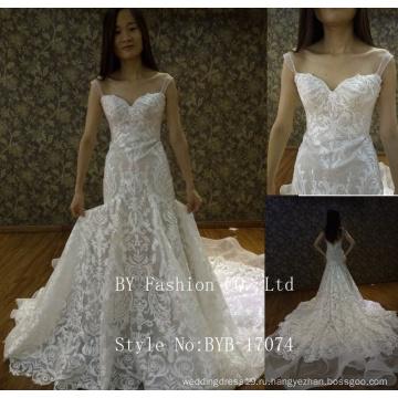 2017 последние дизайн alibaba оптовой возлюбленной пол-длина длинные поезд кружева аппликация orgenza русалка свадебное платье