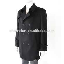 wholesale luxurious 450g/sm classic style men's pure cashmere coats with buttons