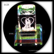 3d laser engraved color-plated wedding crystal