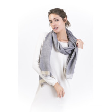 Tt-90%Wool &10% Cashmere Yarn Dye Ladies Scarf