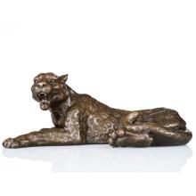 Wild Animal Small Size Hand-Made Leopard Bronze Sculpture Statue Tpal-064