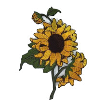Bunga Sunflower Jahit Bordir di Patch