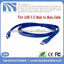 High Speed Flat USB 3.0 Câble mâle M / M Bleu 0.5m 1m 1.5m 2m Vente d'usine