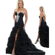 Black Chiffon & Organza Strapless Sweetheart Pageant Party Dress Evening dress Crystal bridesmaid dresses