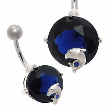 Large Jewel Silver&Steel Belly Bar Blue Dolphin