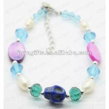 Forme la pulsera de tobillo azul 2012 de los granos de cristal de Joya
