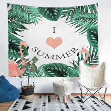 Hand Made Tailor Polyester Tapestry with Printed Cartoon Flamingo Pattern