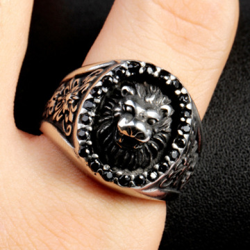 Custom knights signet printing Lion Ring