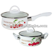enamel cookware sets with bakelite handle and glass lid