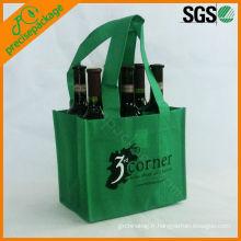 Sac de transport de vin non tissé écologique vert 6 bouteilles