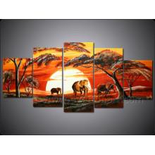 Wand-Kunst-Ausgangsdekoration-afrikanisches Landschafts-Ölgemälde (AR-124)