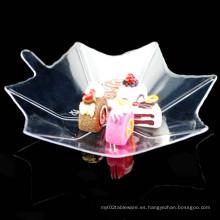 Disco de plástico plato desechable hoja de arce en forma de plato
