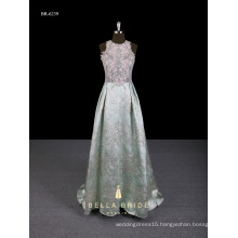 2017 new arrival appliqued A-line Chinese style evening dress with brocade trail