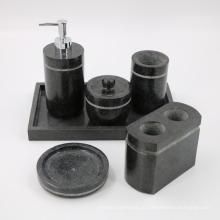 Acessório do banheiro do granito preto Soap / Lotion Dispenser, suporte de escova de dentes, Tumbler, suporte de sal e saboneteira