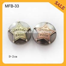 MFB33 Classic jeansl western bon brossage boutons en métal pour hommes 20mm