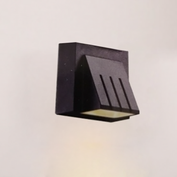3W Striped Aluminum Black outdoor in wall lights