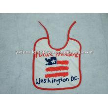China manufacturer logo printed 100% cotton baby bibs