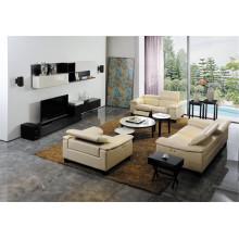 Sofá de sala de estar com conjunto de sofá moderno de couro genuíno (427)
