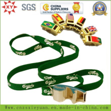Multi-Fonction Whistle Bottle Opener Metal Keychain with Ribbon