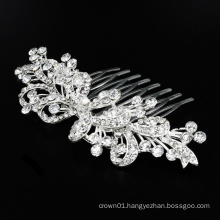 New Silver Fine Alloy Bridal Wedding Pageant Hair Comb with Rhinestone Crystal