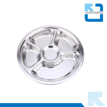 5 Compartimento Escuela Lunch Box / Stainless Steel Round Lunch Plate