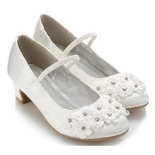 Últimos zapatos de los altos talones de la flor blanca de la muchacha de los cabritos para los niños al por mayor