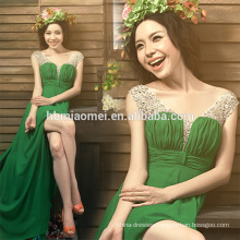 latest pleated design fashion women apparel spaghetti strap maxi chiffon eveing dress