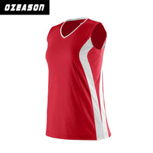 Full Sublimation Custom Design Red Jersey with White Stripes Volleyball Shirt