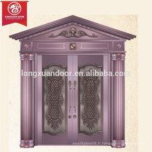 Porte d'entrée de luxe personnalisée d'entrée de luxe, porte à double battant en cuivre