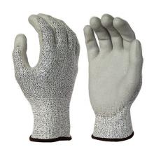 13G HPPE Fiberglass Liner PU Coated Work Gloves Cut 5 Resistents