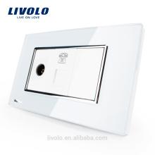 США / AU Livolo Luxur ТВ и телефонная розетка с белым жемчугом хрустального стекла VL-C391VT-81