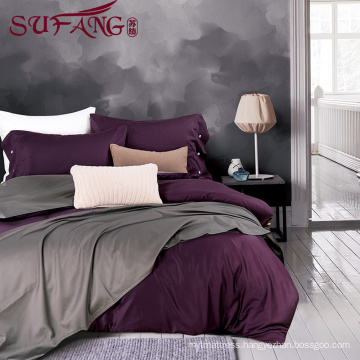 High Quality Hotel Home Bedding Linen Supplier 100% Cotton60s Plain gray Bed Sheets Set