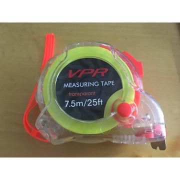 7.5m/25ft Stainless Steel Transparent Measuring Tape