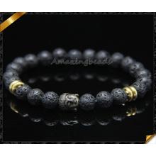 Bracelet en perles rondes de lave noir de qualité supérieure de 8 mm avec des charmes de bouddha (CB0115)