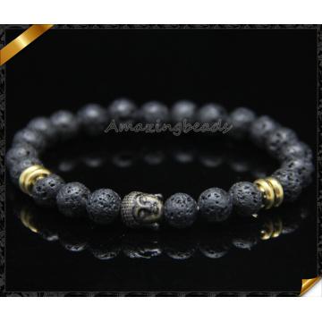 Alta qualidade lava preta 8 milímetros redondo frisado pulseira com encantos de buda (CB0115)