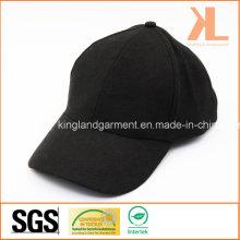 Polyester & Wool Quality Warm Plain Black Baseball Cap